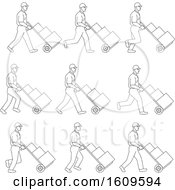 Clipart Of A Sketched Sequence Of A Delivery Worker Pushing A Dolly Royalty Free Vector Illustration