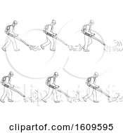 Sketched Sequence Of A Gardener Using A Blower