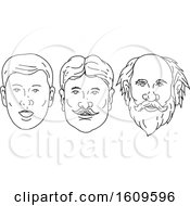 Clipart Of A Sketched Sequence Of A Mans Face Aging Royalty Free Vector Illustration