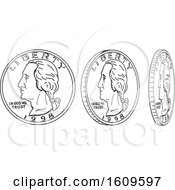 Clipart Of A Sketched Sequence Of A Spinning Quarter Coin Royalty Free Vector Illustration