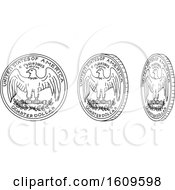 Clipart Of A Sketched Sequence Of A Spinning Quarter Royalty Free Vector Illustration