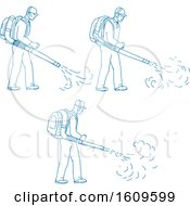 Clipart Of A Sketched Sequence Of A Gardener Using A Blower Royalty Free Vector Illustration