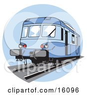Blue Train On Tracks Clipart Illustration