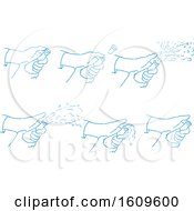 Clipart Of A Sketched Sequence Of A Hand Popping A Champagne Wine Bottle Royalty Free Vector Illustration