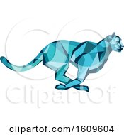 Clipart Of A Blue Low Poly Geometric Cheetah Running Royalty Free Vector Illustration