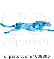 Clipart Of A Blue Geometric Cheetah Running Royalty Free Vector Illustration