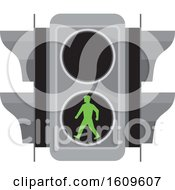 Clipart Of A Traffic Signal Light With Green Man Walking For Pedestrian Crossing Royalty Free Vector Illustration