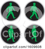 Clipart Of A Walk Cycle Sequence Of A Traffic Signal Light With Green Pedestrian Royalty Free Vector Illustration