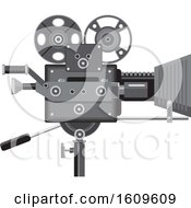 Clipart Of A Vintage Movie Film Camera Royalty Free Vector Illustration