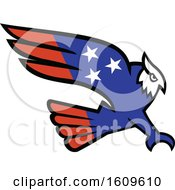 Clipart Of A Swooping American Themed Great Horned Owl Royalty Free Vector Illustration