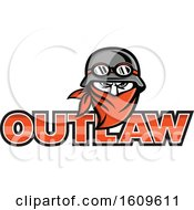 Tough Male Outlaw Biker Wearing A Vintage Helmet And Bandana Over Outlaw Text