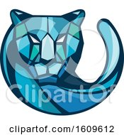 Clipart Of A Blue Geometric Cheetah Mascot Head And Tail Royalty Free Vector Illustration
