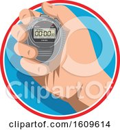 Clipart Of A Hand Holding A Digital Stopwatch Timer Royalty Free Vector Illustration