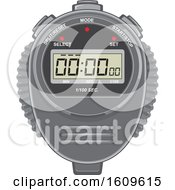 Clipart Of A Digital Stopwatch Timer Royalty Free Vector Illustration