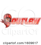 Clipart Of A Male Biker Wearing A Vintage Helmet And Red Bandana Over Outlaw Text Royalty Free Vector Illustration by patrimonio