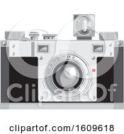 Clipart Of A Vintage 35mm Film Camera With A Cube Flash Royalty Free Vector Illustration