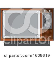 Clipart Of A Vintage Black And White Box Television Set Royalty Free Vector Illustration