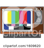 Clipart Of A Vintage Box Television Set With Broadcast Test Alert Stripes On The Screen Royalty Free Vector Illustration