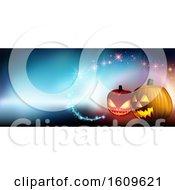 Halloween Background With Magic Lights And Jackolanterns