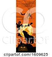 Clipart Of A Vertical Halloween Banner Royalty Free Vector Illustration