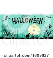 Poster, Art Print Of Happy Halloween Greeting With Silhouettes