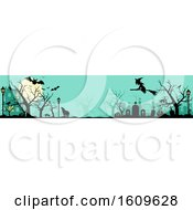 Poster, Art Print Of Halloween Website Banner With Silhouettes