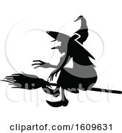 Halloween Flying Witch Black And White Silhouette