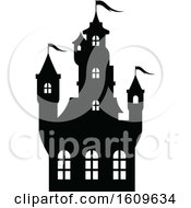 Halloween Haunted Castle Black And White Silhouette