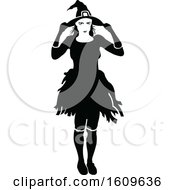 Halloween Witch Black And White Silhouette
