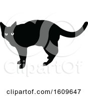 Halloween Cat Black And White Silhouette