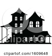 Halloween Haunted House Black And White Silhouette