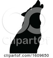 Poster, Art Print Of Halloween Howling Wolf Black And White Silhouette