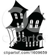 Clipart Of A Halloween Haunted House Black And White Silhouette Royalty Free Vector Illustration