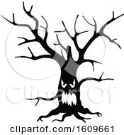 Halloween Ent Tree Black And White Silhouette
