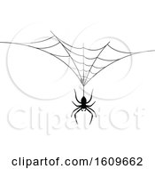 Clipart Of A Halloween Spider Dangling From A Web Black And White Silhouette Royalty Free Vector Illustration by dero