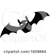 Clipart Of A Halloween Vampire Bat Black And White Silhouette Royalty Free Vector Illustration by dero