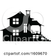 Clipart Of A Halloween Haunted House Black And White Silhouette Royalty Free Vector Illustration by dero