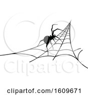 Clipart Of A Halloween Spider On A Web Black And White Silhouette Royalty Free Vector Illustration by dero