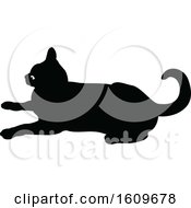 Clipart Of A Halloween Cat Black And White Silhouette Royalty Free Vector Illustration by dero