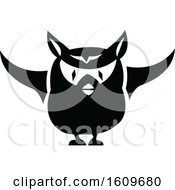 Clipart Of A Halloween Owl Black And White Silhouette Royalty Free Vector Illustration by dero