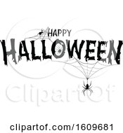 Clipart Of A Happy Halloween Greeting With Spiders And Webs In Black And White Royalty Free Vector Illustration by dero