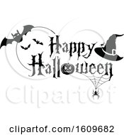 Clipart Of A Happy Halloween Greeting With Spiders Bats And A Witch Hat In Black And White Royalty Free Vector Illustration by dero