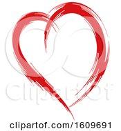 Poster, Art Print Of Red Brush Stroke Heart