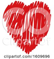 Poster, Art Print Of Red Scribble Heart