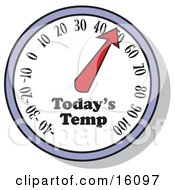 Thermometer Showing The Temperature For The Day Clipart Illustration