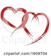 Poster, Art Print Of Red Brush Stroke Hearts