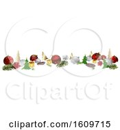 3d Christmas Website Banner With Baubles And Decorations In Snow