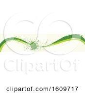 Clipart Of A Green Wave And Splatter Website Border Or Header Banner Royalty Free Vector Illustration