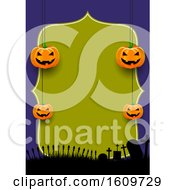 Spooky Halloween Menu Design With Hanging Pumpkins
