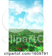 3D Landscape With Poppies And Buttercups